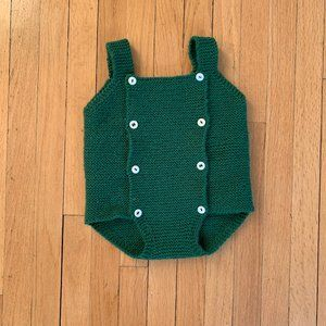 Other - Adorable hand knit green baby romper